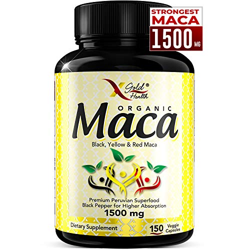 Organic Maca Root Powder Capsules Black, Red, Yellow Strongest 1500 mg Peruvian Maca Gelatinized for Energy, Performance, Mood for Men and Women, Vegan Pills w/Black Pepper for Best Benefits (Best Maca Root For Bigger Booty)