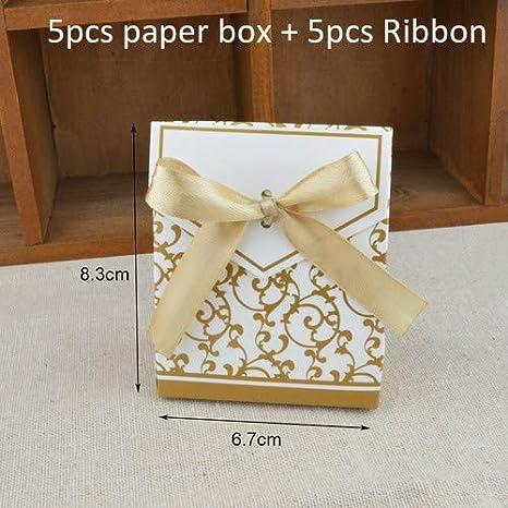 Amazon.com: Caja de papel de caramelo dorada y plateada con ...