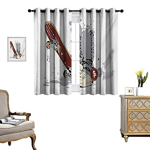 Teen Room Patterned Drape for Glass Door Skateboard with Boy Feet in The Sneakers and Jeans Illustration Waterproof Window Curtain W55 x L63 Grey Cream Chestnut - Skateboards Venue