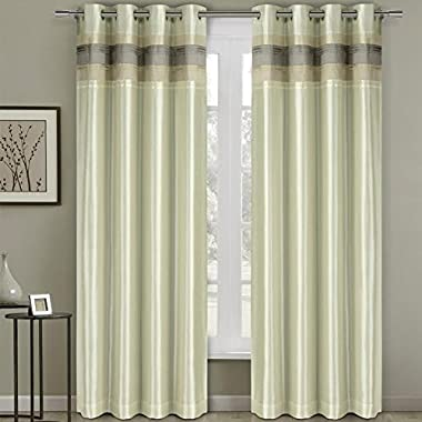 2 Piece Milan Jacquard Grommet Window Treatment Curtain Panels Drapes 108x108, Ivory