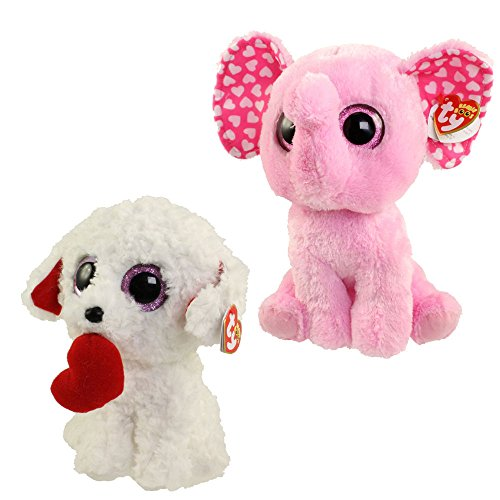 TY Beanie Boos - SET of 2 VALENTINES 2017 Releases (Sugar & Honey Bun) (9 inch) - Peace Sign Party Tape