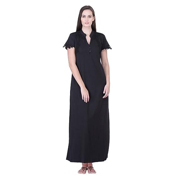d68ac0913db7 HoneyDew - Womens Cotton Hoseiry Plain Nighty - Black Color