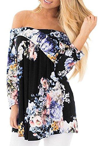 Casual Crisscross Fold Over 3 4 Sleeve Tunic Shirt Floral Print Blouse Top,(C.I.I.) m.p,Black (Zelda Floral Print)