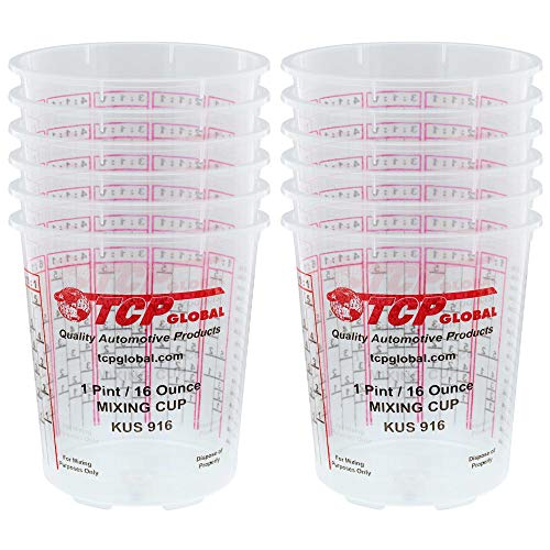 Custom Shop Pack of 12 Each - 16 Ounce Paint Mixing Cups = 1 Pint Cups Have calibrated Mixing ratios on Side of Cup Pack of 12 Paint and Epoxy Mixing Cups