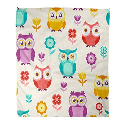 - Emvency Throw Blanket Warm Cozy Print Flannel Colorful Nursery Cute Cartoon Owls Green Adorable Childlike Animal Baby Bird Comfortable Soft for Bed Sofa and Couch 60x80 Inches