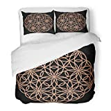 Emvency Bedding Duvet Cover Set Twin (1 Duvet Cover + 1 Pillowcase) Laser Cutting Mandala Oriental Silhouette Circular Round Lattice for Metal Plywood Hotel Quality Wrinkle and Stain Resistant