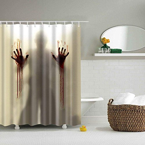 Halloween Bloody Shower Curtain Help Me With Hands Horror Scary Spooky Flowing Blood