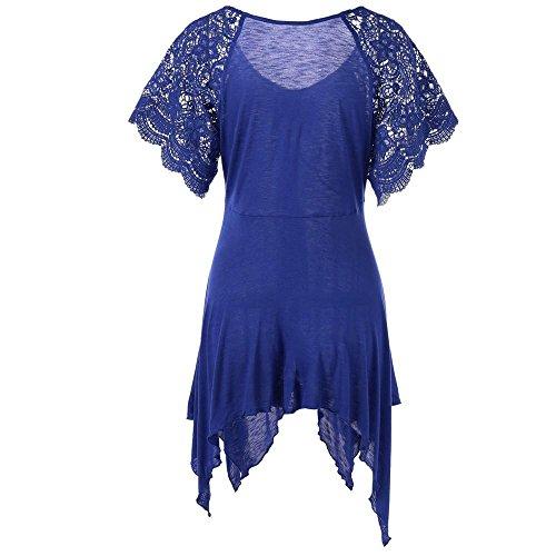 Hombros Camisetas FAMILIZO Mujer Floral Grandes Mujer Mujer Mujer Mujer Azul Mujer Camisetas Camisetas Camisetas ❤️S~5XL Tallas Camisetas Corta Elegante Fiesta Manga Blusa Verano Sin 1rxdwcAqr