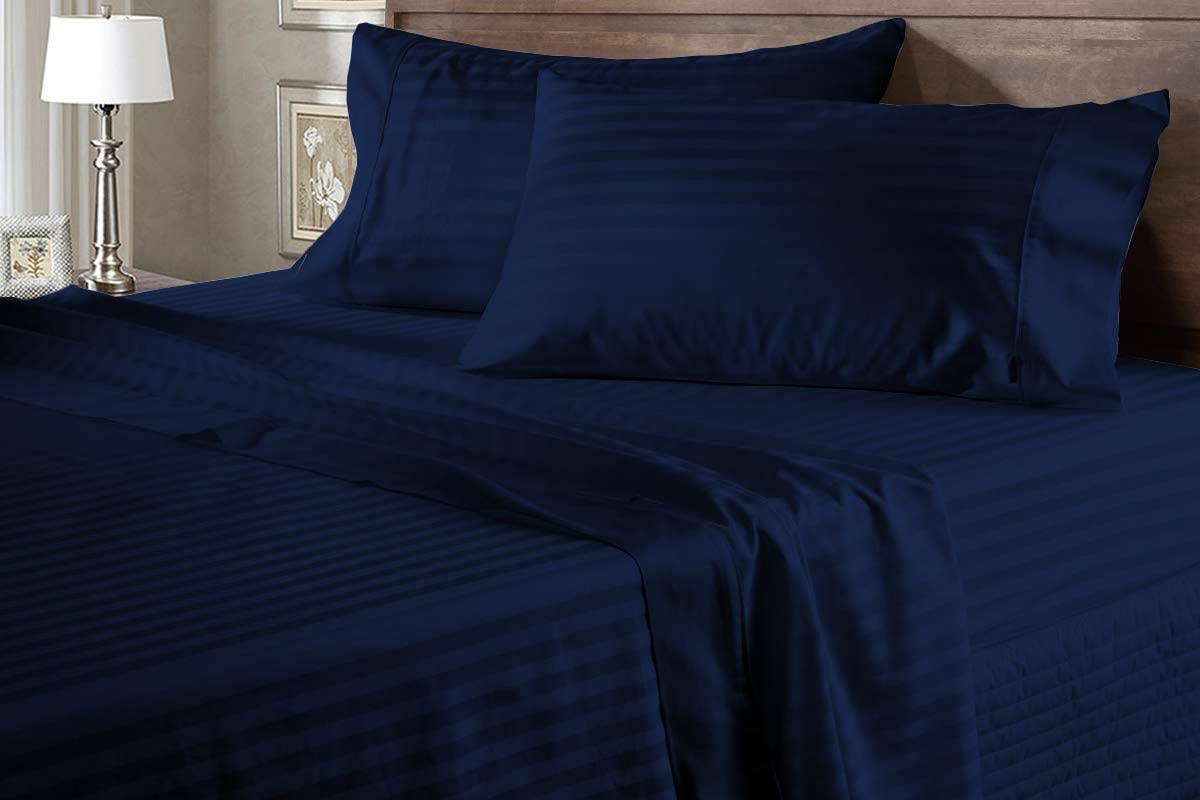 Juego de sábanas de 600 hilos, 100% algodón egipcio, 4 piezas, 38 cm de profundidad, tamaño Super King Size Srtipe azul marino