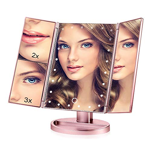 Lighted Makeup Vanity Mirror with 24 LED Lights, 3X/2X Magnifying and Touch Screen Dimming Mirror, Dual Power Supply, 180° Adjustable Rotation & Countertop Cosmetic Mirror (Rose Gold)