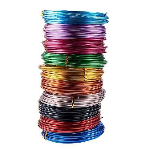 - PandaHall 10 Rolls Aluminum Craft Wire 9 Guage Flexible Artistic Floral Colored Jewely Beading Wire for DIY Jewelry Craft Making Each Roll 16 Feet