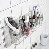 HOMKO Rustic Mason Jar Toothbrush Holder Wall Mounted - Mason Jar Bathroom Wall Storage Organizer – Farmhouse Wall Decor Small Bathroom Storage Containers (Rustic Gray)