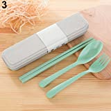wintefei Useful Daily Home Tools 3Pcs/Set Portable Utensils Tableware Cutlery Wheat Straw Spoon For