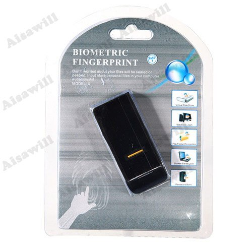 Asiawill USB Biometric Fingerprint Reader Password Lock Security For Laptop PC Computer Two-Color Random