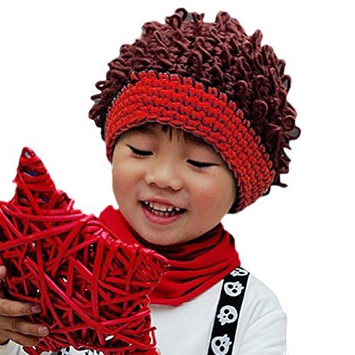 Afro Hat (LOCOMO Baby Knit Crochet Rib Afro Bob Clown Wig Fake Hair Beanie Hat FBA037RED)