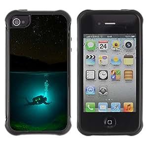KROKK CASE Apple Iphone 4 / 4S - scuba diver diving underwater tank night - Funda Carcasa Bumper con Absorción de Impactos y Anti-Arañazos Espalda Slim Rugged Armor