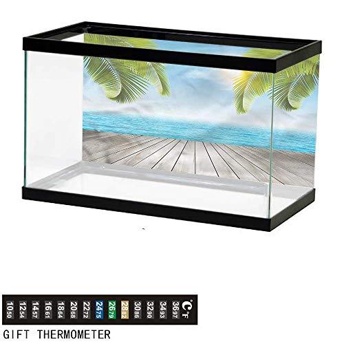 bybyhome Fish Tank Backdrop Beach,Seashore with Palm Trees,Aquarium Background,48