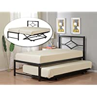 Kings Brand Furniture Black Metal Twin Size Day Bed (Daybed) Frame with Pop Up Trundle