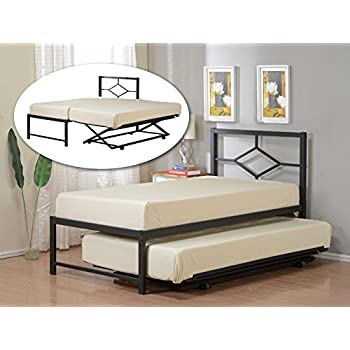 552320e8d0e73 Kings Brand Furniture Black Metal Twin Size Day Bed (Daybed) Frame with Pop  Up Trundle
