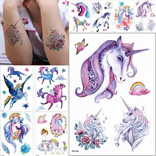 tzxdbh Nueva Historieta Azul Unicornio Cuentos de Hadas Tatuaje ...