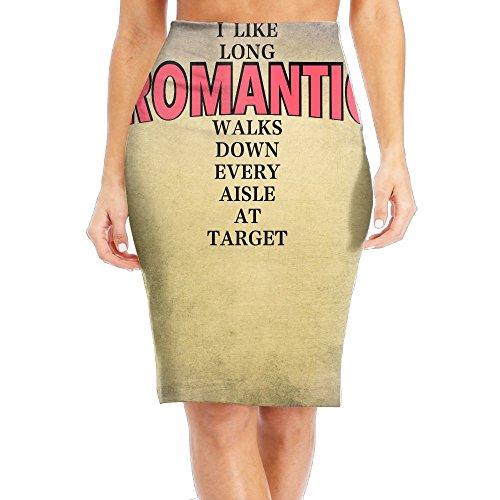 Womens Slim Long Sleeve Printing I Like Long Romantic Walks Down Every aisle At Target Pull On Knee Length Pencil Skirt For Office Wear
