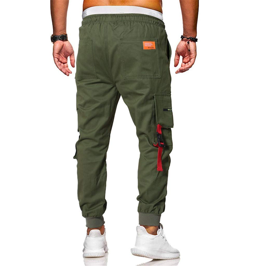 FANORAD 2019 Mens Pants Summer Long Pants Drawstring Casual Plaid Cotton Trousers with Multi-Pockets