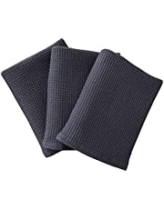 RAYKER Classic Kitchen Towels,Waffle Weave Tea Towels, Best Dish Cloths, 100% cotton,Vintage Design,3 Pack In Large Size 45x65cm