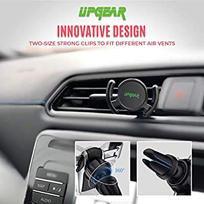 UPGear Phone Clip Car Mount & Holder for Cell Phone [2 Pack] - Air Vent Clip Designed for Android or iPhone with Phone Clip || Sturdy Mount with 360 Degrees Grip & Lock for GPS Navigation