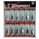 JSHANMEI Spoon Lure Fishing Mental Spinnerbait Lure Kits Bass Trout Walleye Crankbait 12PCS Assorted Saltwater Fishing Tackle Kit