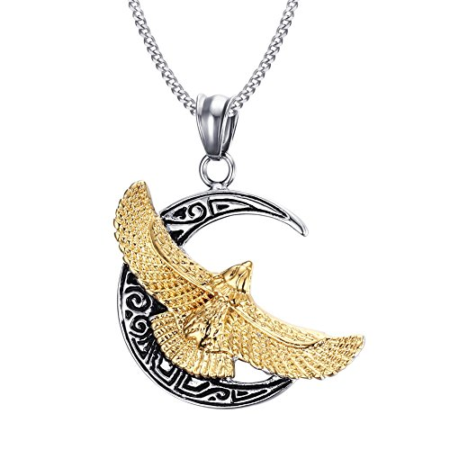 Vintage Stainless Steel New Moon & Gold Eagle Pendant Necklace with Free Chain (Eagle Eagle Gold)