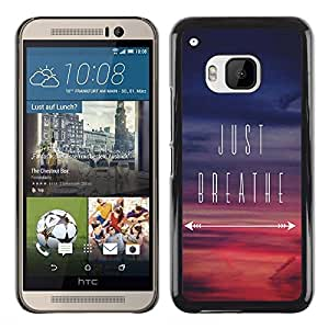 Planetar® ( Just Breathe Inspirational Sunset Purple ) HTC One M9 Fundas Cover Cubre Hard Case Cover