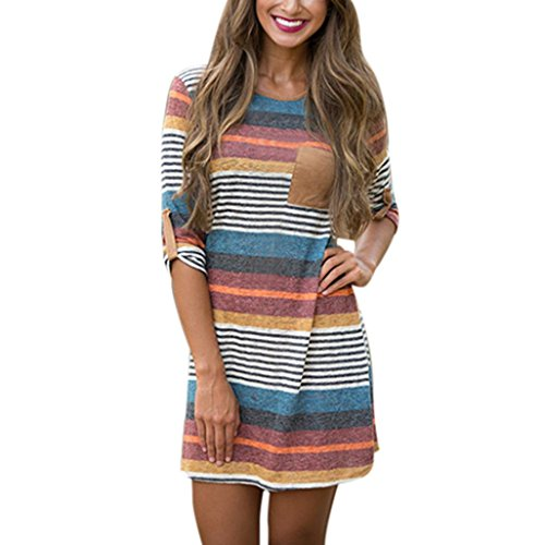 Women Dress Daoroka Women's Sexy Striped Bodycon Long Patchwork Sleeve Dress Casual...