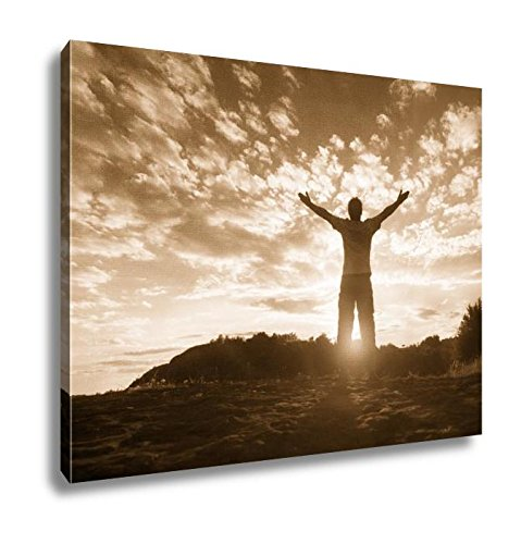 Ashley Framed Prints Silhouette Of A Man With Hands Raised In The Sunset Concept For Religion, Kitchen Bedroom Living Room Art, Sepia 24x30, AG4916599 by Ashley Framed Prints