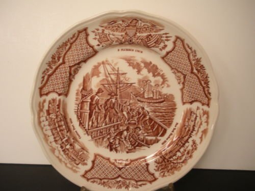 Alfred Meakin Fair Winds 7 Inch Bread Plate USS Constitution Engaging Chinese Junks