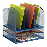 Safco Products Onyx Mesh 2 Tray/6 Sorter Desktop Organizer