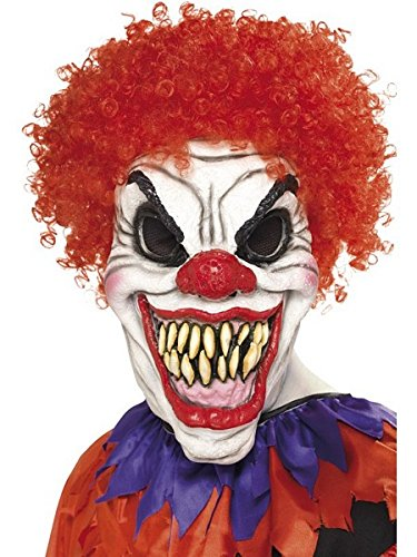 Smiffy's Men's Scary Clown Mask, White & Red, One Size, (Clown Halloween Costume Uk)