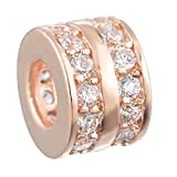 Souarts Rose Gold Plated Round Copper Rhinestone Spacer Charm Beads for European Bracelets