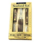 Lamson Walnut 3pc Seafood Set - Oyster Knife, Clam Knife & Shrimp Deveiner