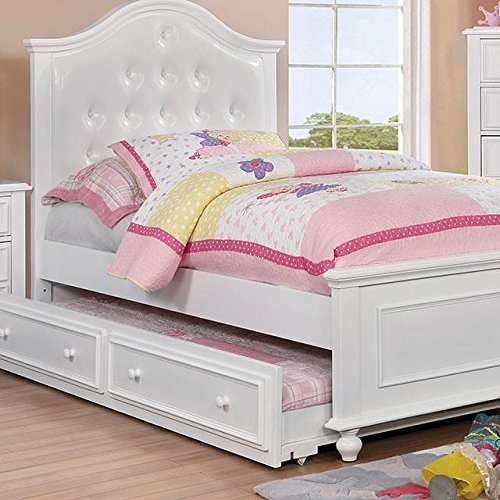 Price comparison product image Walter Kids Leather Platform Twin Bed - White Wood