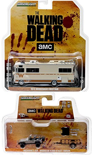 The Walking Dead Series TV Show Michonne's Jeep Wrangler YJ & Utility Vehicle + Dale's 1973 Winnebago Chieftan 2-Pack Bundle Set
