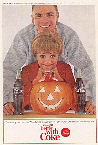 1964 Coca Cola: That's Using Your Pumpkin, Halloween, Coca Cola Print (Coke Halloween Advertisement)