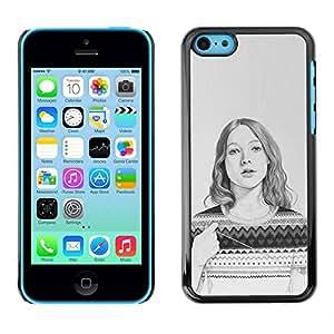 Paccase / SLIM PC / Aliminium Casa Carcasa Funda Case Cover - Sweater Pencil Drawing Portrait - Apple Iphone 5C