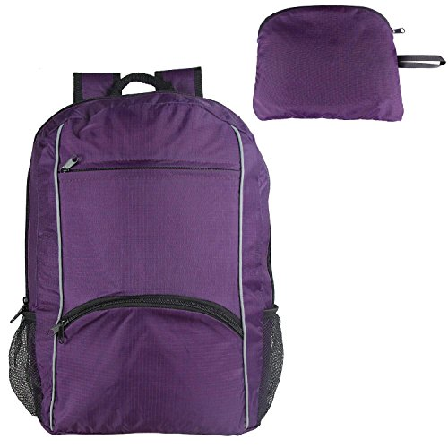 Teamoy Packable Lightweight Sports Backpack, Water Resistant/Foldable Travel Camping Outdoor Hiking Daypack Sack Pack,Purple For Sale