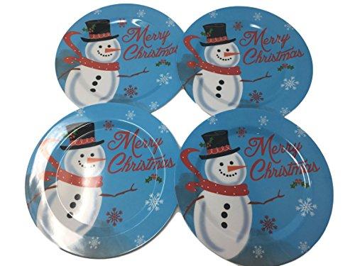 Poinsettia Accent Plate (Christmas Melamine Plate Set of 4 - Poinsettia, Santa, Snowman or Angel (Snowman))