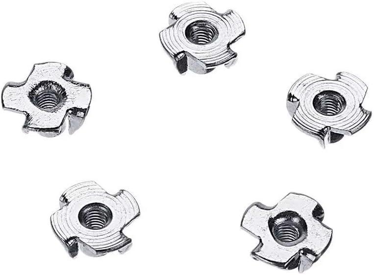 For Arduino-HENG Module Kits Accessory 80Pcs Zinc Plated Steel T-Nut 4 Pronged Tee Blind Insert Nuts Assortment M3//M4//M5//M6//M8