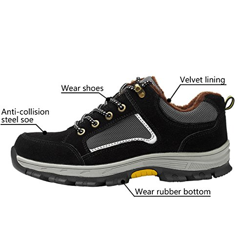 Shoes Safety Shoes Optimal Black Steel 1 Shoes Toe Men's Work 50wwqaf7x