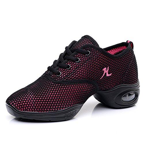 Yuanli Frauen Mesh Ballroom Tanzschuhe Leichte Jazz Schuhe Rosa