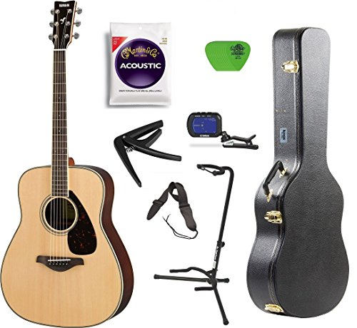 Yamaha FG800 Acoustic Guitar Solid Top with Knox Hard Shell Guitar Case,Tuner,Stand,strings,Stap,Capo and Picks - Yamaha Solid Guitar