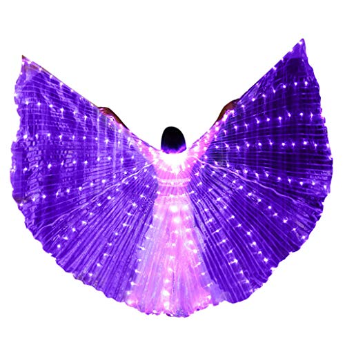 Tantisy ♣↭♣ Women LED Isis Wings Glow Light Up Belly Dance Costumes with Sticks Performance Clothing Carnival Halloween Party Purple -