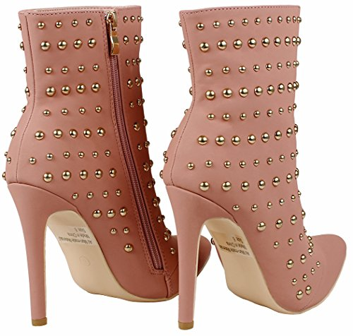 Shoes Soft Pointed Studded Lined Fur Faux Bootie Heel Women Decor Ankle Suede JJF Mauve Toe Zip Metal Stiletto dwqvXdx